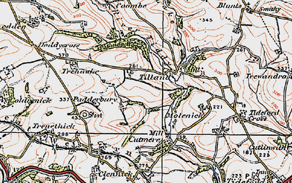 Old map of Tilland in 1919