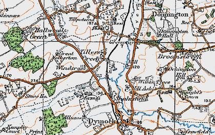 Old map of Tillers' Green in 1919