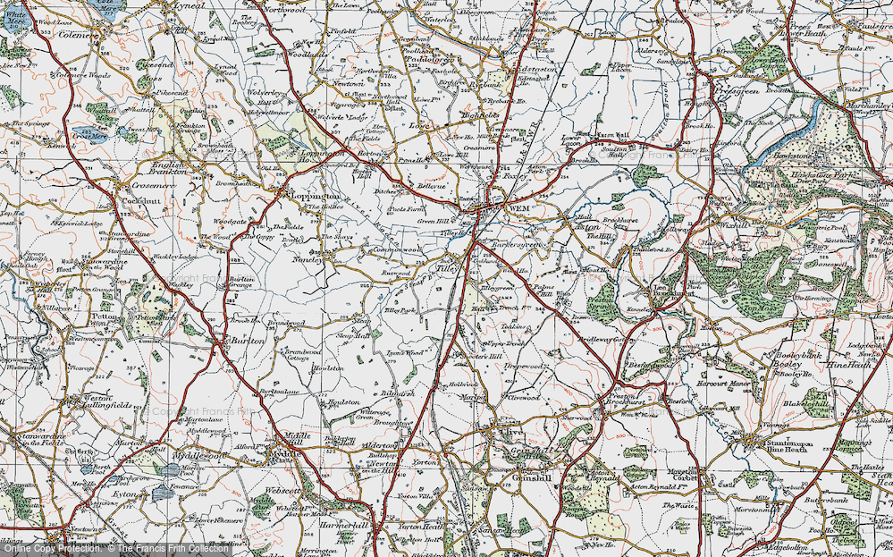 Old Map of Tilley, 1921 in 1921