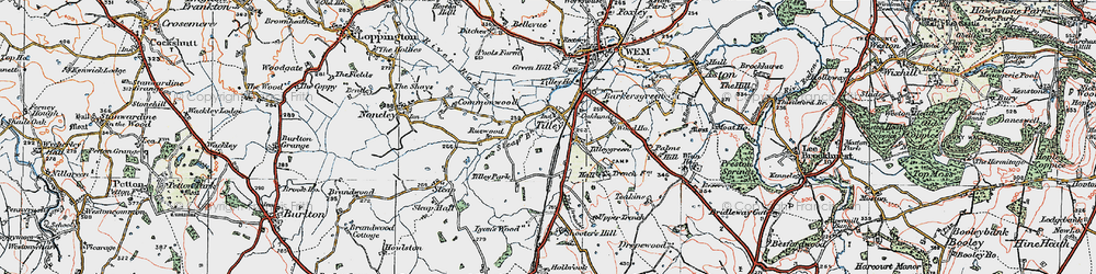 Old map of Tilley in 1921