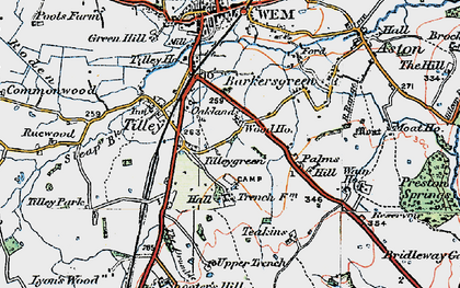 Old map of Tilley Green in 1921