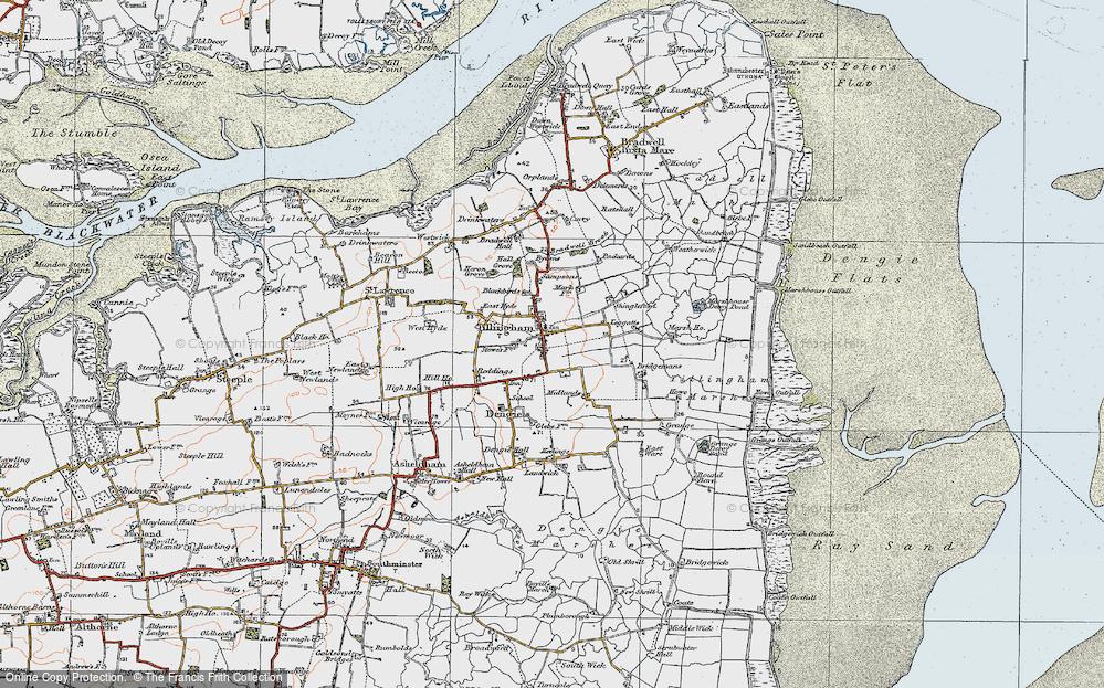 Old Map of Tillingham, 1921 in 1921