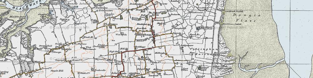 Old map of Tillingham in 1921