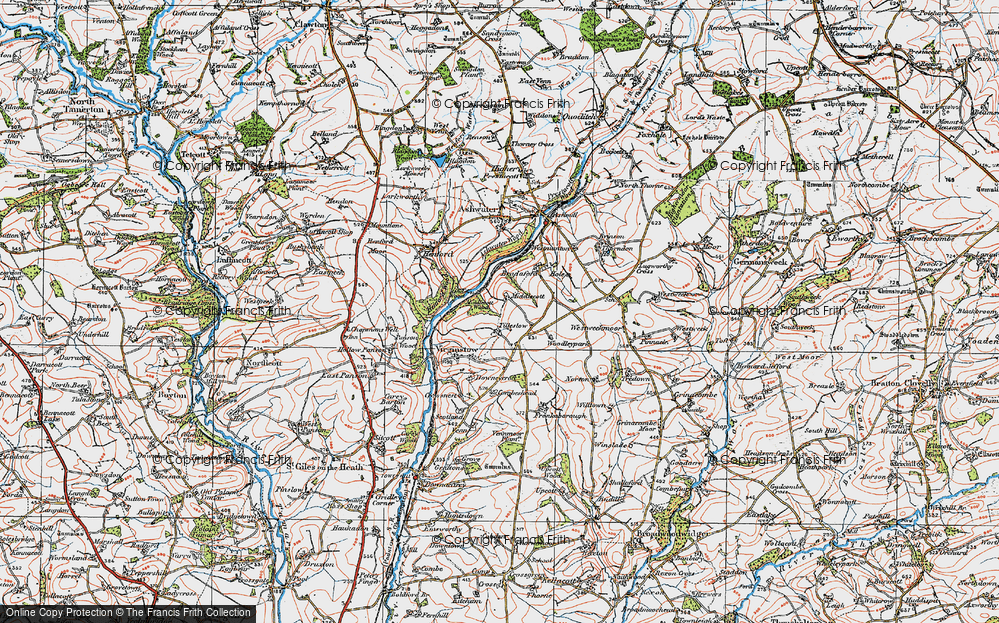 Old Map of Historic Map covering Ashwater Wood in 1919