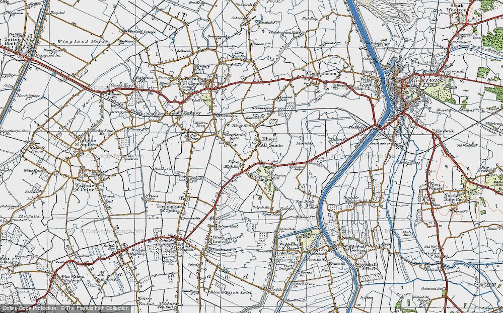 Old Map of Tilney All Saints, 1922 in 1922