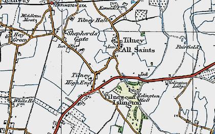 Old map of Tilney All Saints in 1922