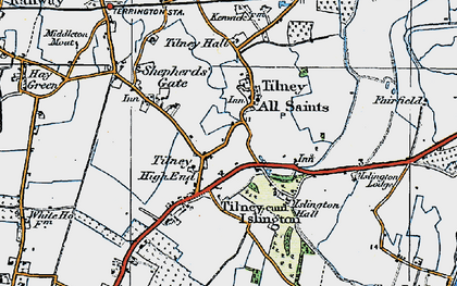 Old map of Tilney High End in 1922