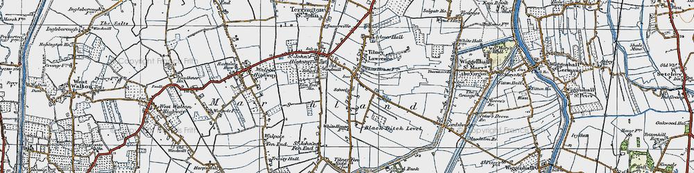 Old map of Tilney St Lawrence in 1922