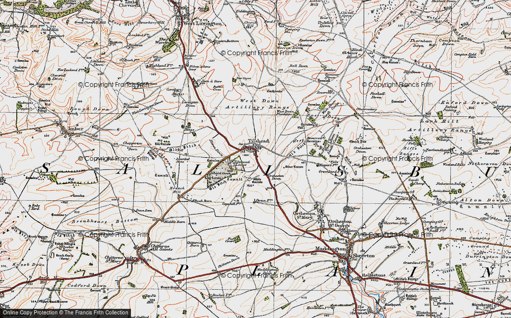 Old Map of Tilshead, 1919 in 1919