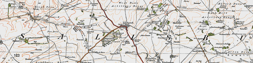 Old map of Tilshead in 1919