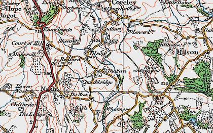 Old map of Tilsop in 1920