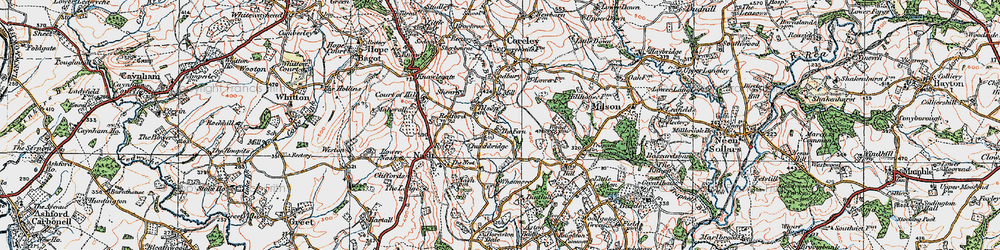 Old map of Tilsop in 1920