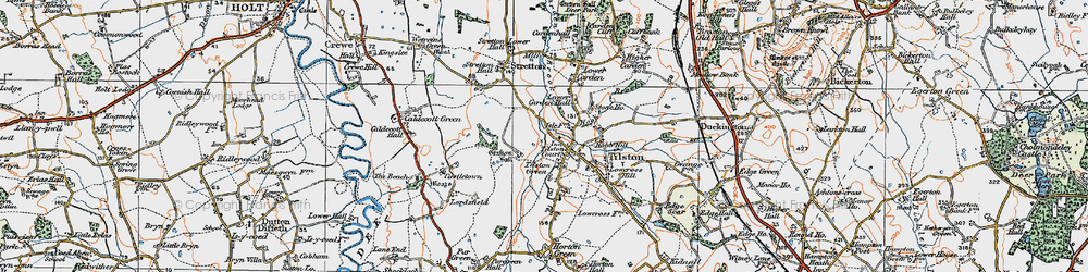 Old map of Tilston in 1921