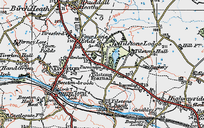 Old map of Wettenhall Brook in 1923