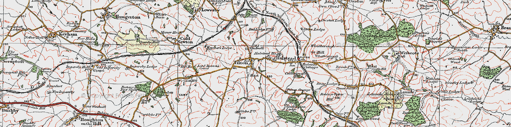 Old map of Tilton on the Hill in 1921