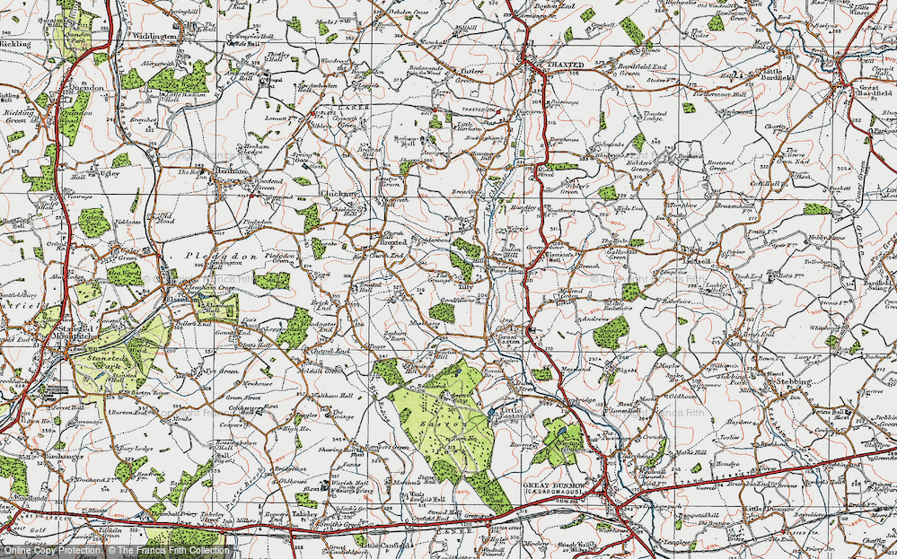 Old Map of Historic Map covering Tingates in 1919