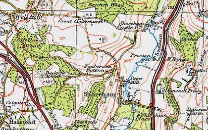 Old map of Timberden Bottom in 1920