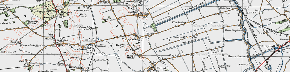 Old map of Timberland in 1923