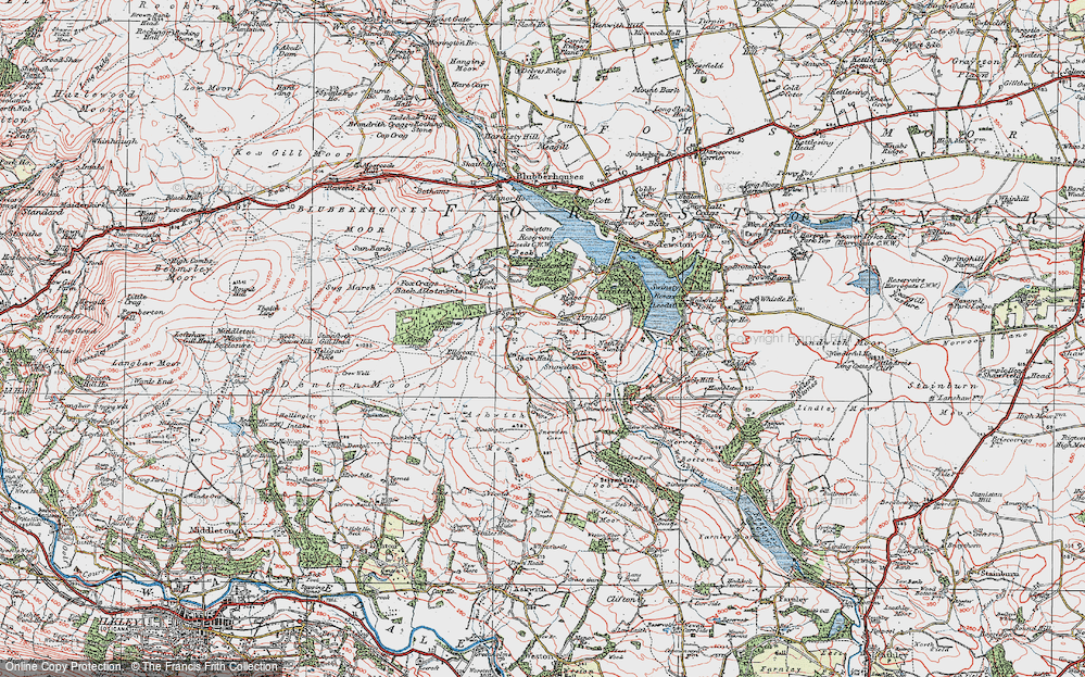 Old Map of Historic Map covering Timble Gill Beck in 1925