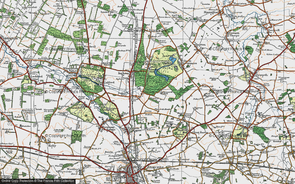 Old Map of Historic Map covering Timworth Hall in 1920