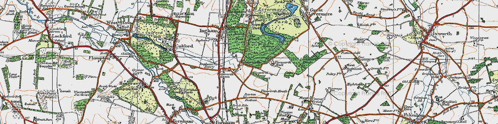 Old map of Timworth Hall in 1920