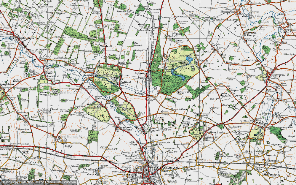 Old Map of Timworth Green, 1920 in 1920