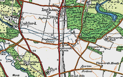 Old map of Timworth Green in 1920