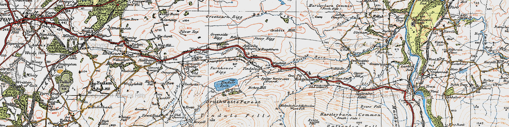 Old map of Whamoss Rigg in 1925