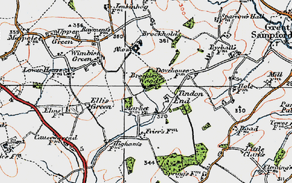 Old map of Tindon End in 1920