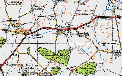 Old map of Tingewick in 1919