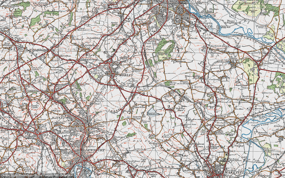 Old Map of Tingley, 1925 in 1925