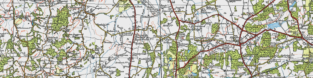 Old map of Tinsley Green in 1920