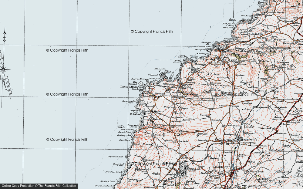 Old Map of Tintagel, 1919 in 1919