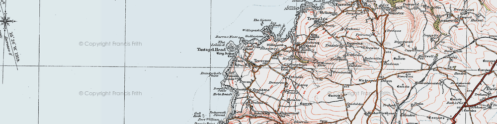 Old map of Tintagel Head in 1919