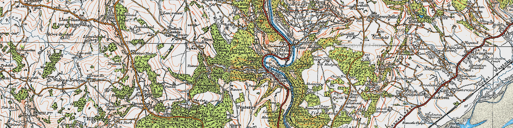 Old map of Tintern Abbey in 1919