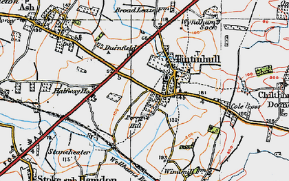 Old map of Tintinhull in 1919