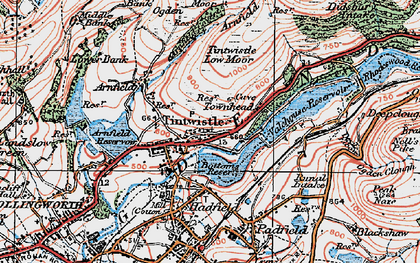 Old map of Tintwistle in 1924