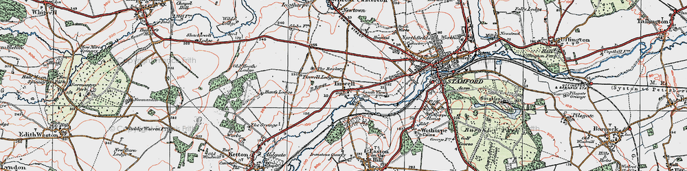 Old map of Tinwell in 1922