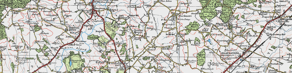 Old map of Tip's Cross in 1920
