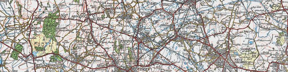 Old map of Tipton in 1921