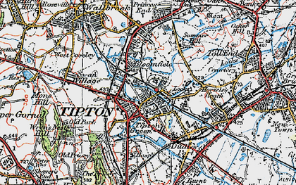 Old map of Tipton Green in 1921