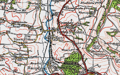 Old map of Tipton St John in 1919