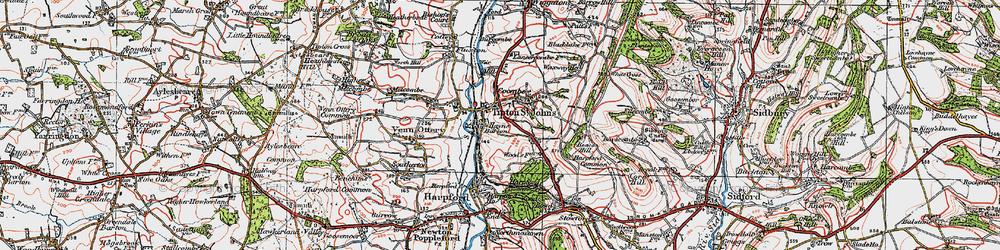 Old map of Tipton St John in 1919
