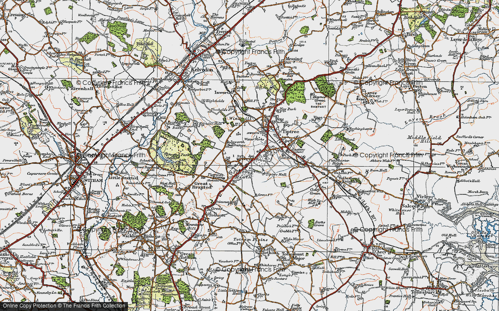 Old Map of Tiptree Heath, 1921 in 1921