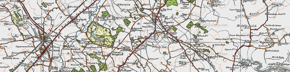 Old map of Tiptree Heath in 1921