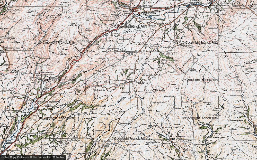 Old Map of Historic Map covering Abergefail in 1923