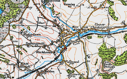 Old map of Tisbury in 1919