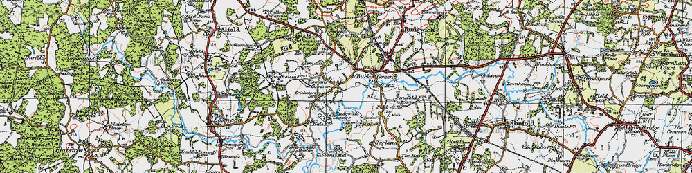 Old map of Tisman's Common in 1920