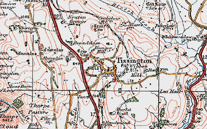 Old map of Tissington in 1921