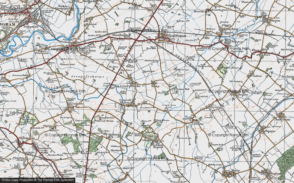 Old Map of Tithby, 1921 in 1921